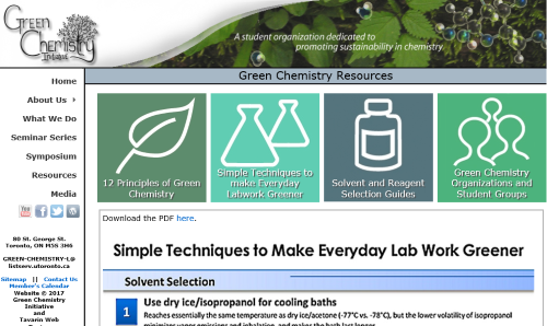 Tavarin Designed Website for the Green Chemistry initiative